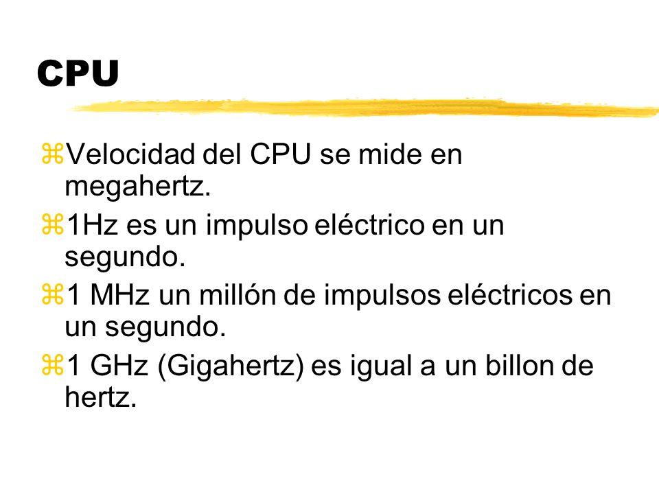 CPU Velocidad del CPU se mide en megahertz.