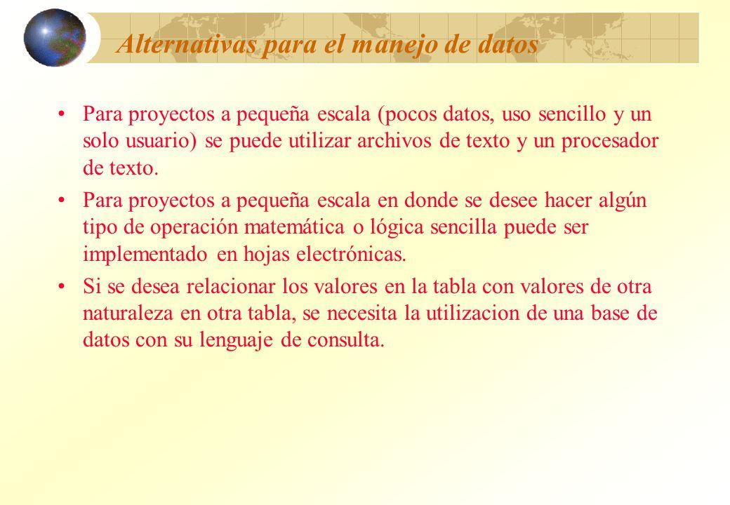 Alternativas para el manejo de datos