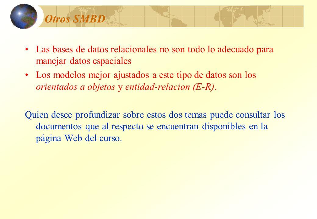 Otros SMBD Las bases de datos relacionales no son todo lo adecuado para manejar datos espaciales.