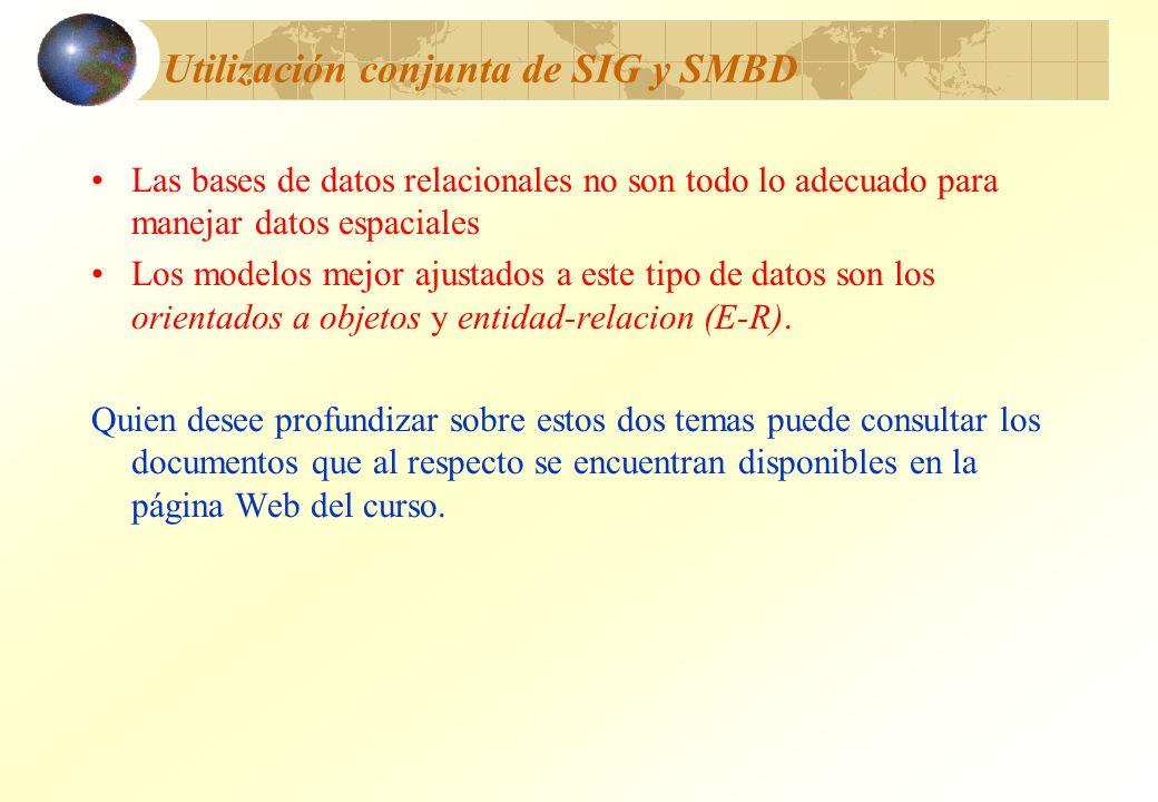 Utilización conjunta de SIG y SMBD