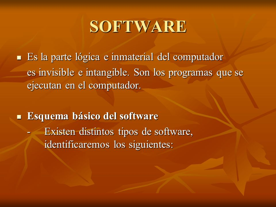 SOFTWARE Es la parte lógica e inmaterial del computador