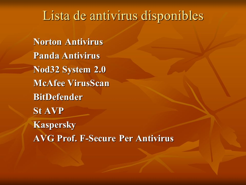 Lista de antivirus disponibles