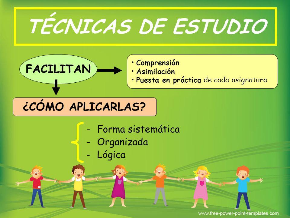 TÉCNICAS DE ESTUDIO FACILITAN ¿CÓMO APLICARLAS Forma sistemática