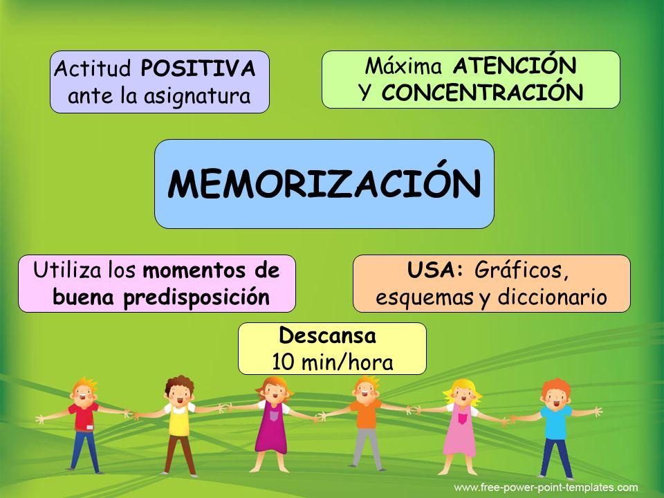 MEMORIZACIÓN Actitud POSITIVA ante la asignatura Máxima ATENCIÓN