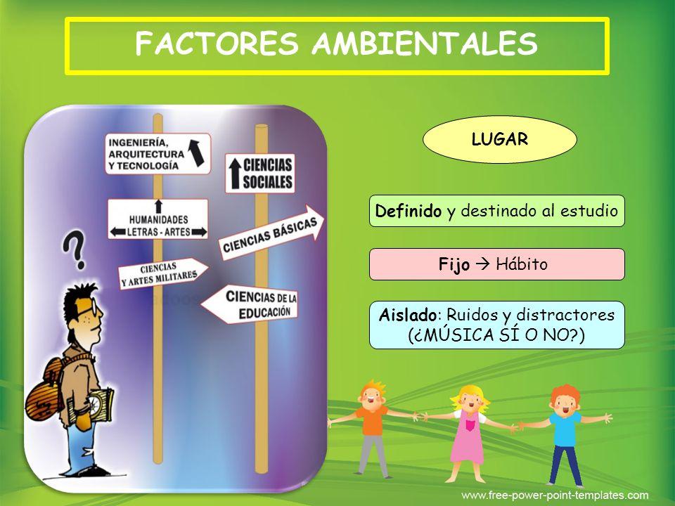FACTORES AMBIENTALES LUGAR Definido y destinado al estudio
