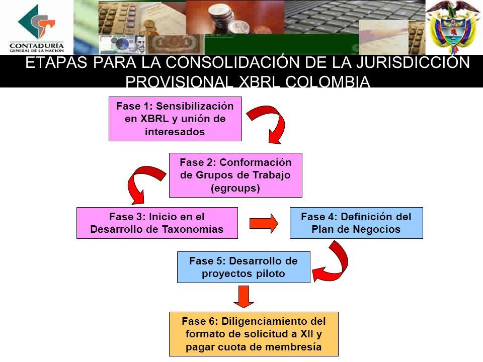 ETAPAS PARA LA CONSOLIDACIÓN DE LA JURISDICCIÓN PROVISIONAL XBRL COLOMBIA
