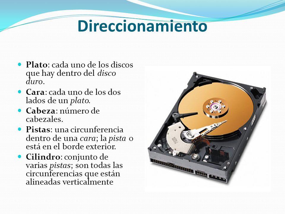 Direccionamiento Plato: cada uno de los discos que hay dentro del disco duro. Cara: cada uno de los dos lados de un plato.