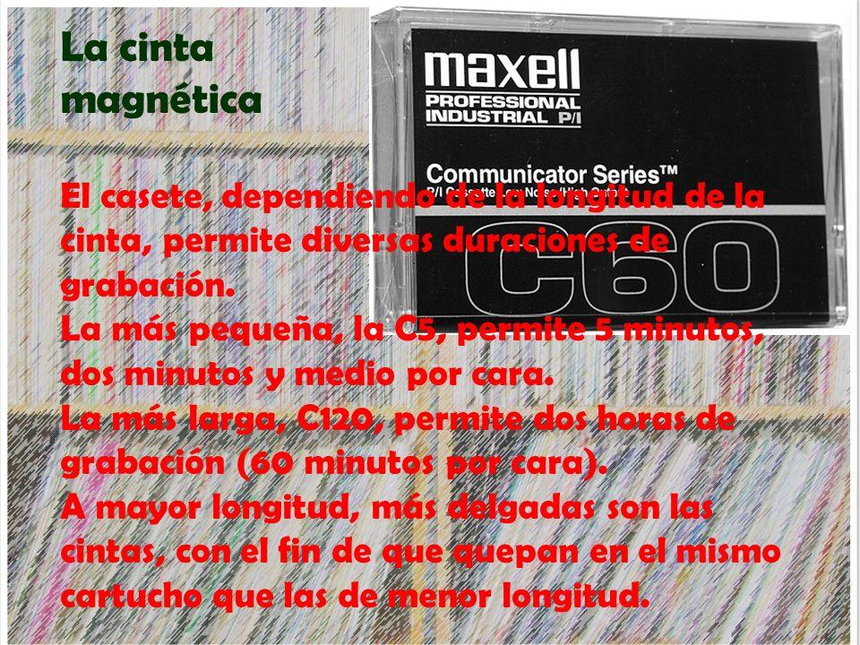 La cinta magnética El casete, dependiendo de la longitud de la cinta, permite diversas duraciones de grabación.