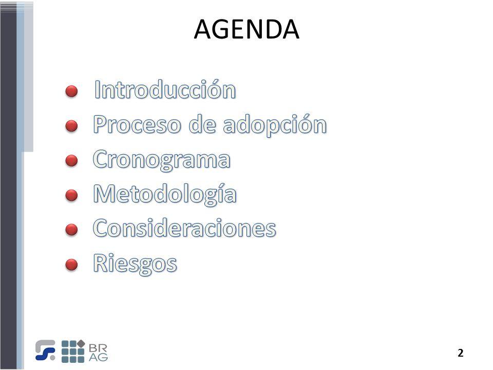 AGENDA Introducción Proceso de adopción Cronograma Metodología
