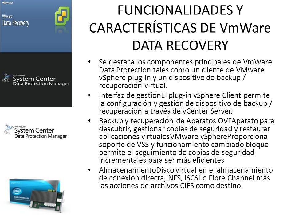 FUNCIONALIDADES Y CARACTERÍSTICAS DE VmWare DATA RECOVERY