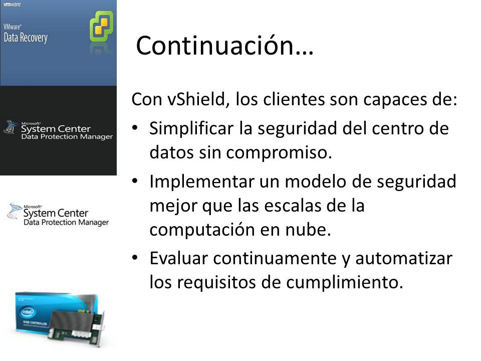 Continuación… Con vShield, los clientes son capaces de: