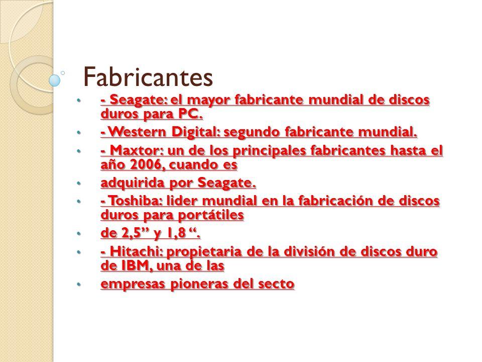 Fabricantes - Seagate: el mayor fabricante mundial de discos duros para PC. - Western Digital: segundo fabricante mundial.