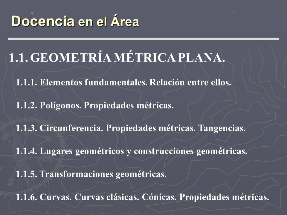 Docencia en el Área 1.1. GEOMETRÍA MÉTRICA PLANA.