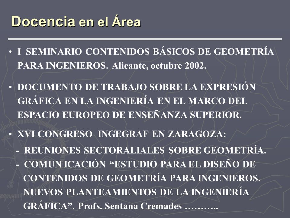 Docencia en el Área I SEMINARIO CONTENIDOS BÁSICOS DE GEOMETRÍA PARA INGENIEROS. Alicante, octubre 2002.