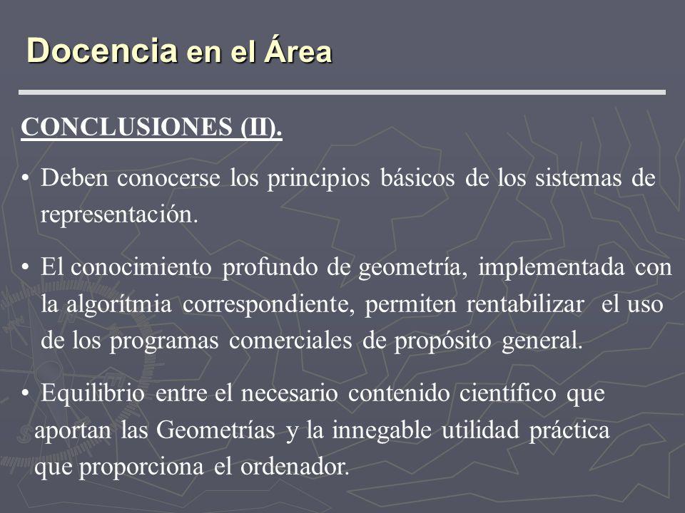 Docencia en el Área CONCLUSIONES (II).