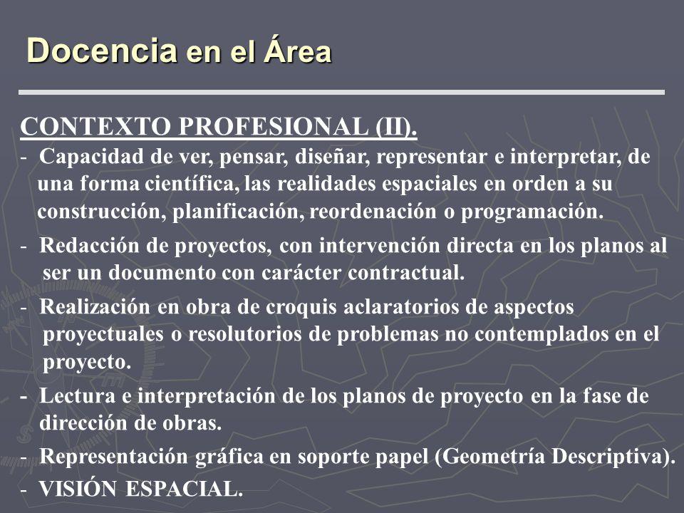 Docencia en el Área CONTEXTO PROFESIONAL (II).