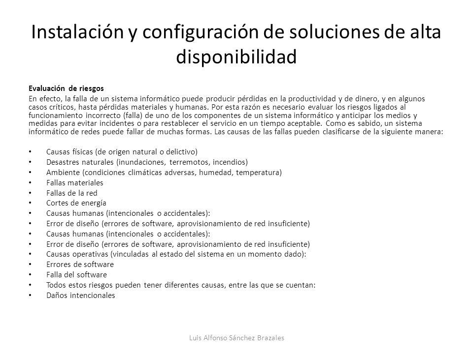 Instalación y configuración de soluciones de alta disponibilidad