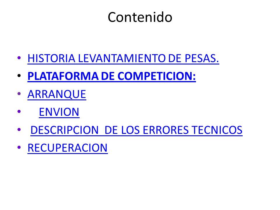 Contenido HISTORIA LEVANTAMIENTO DE PESAS. PLATAFORMA DE COMPETICION:
