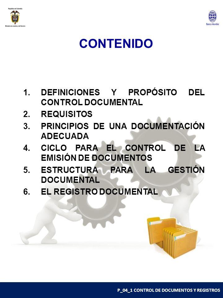 CONTENIDO DEFINICIONES Y PROPÓSITO DEL CONTROL DOCUMENTAL REQUISITOS