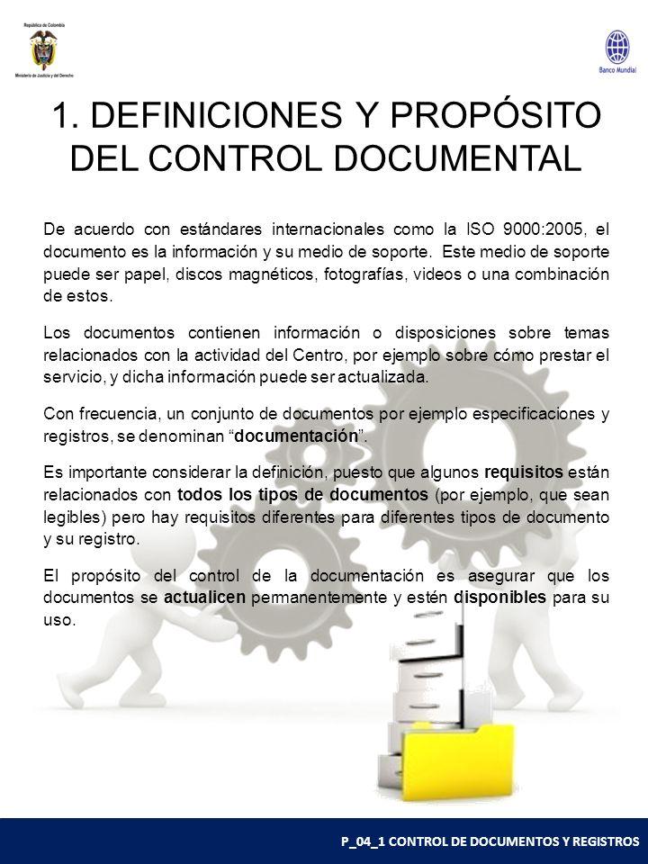 1. DEFINICIONES Y PROPÓSITO DEL CONTROL DOCUMENTAL