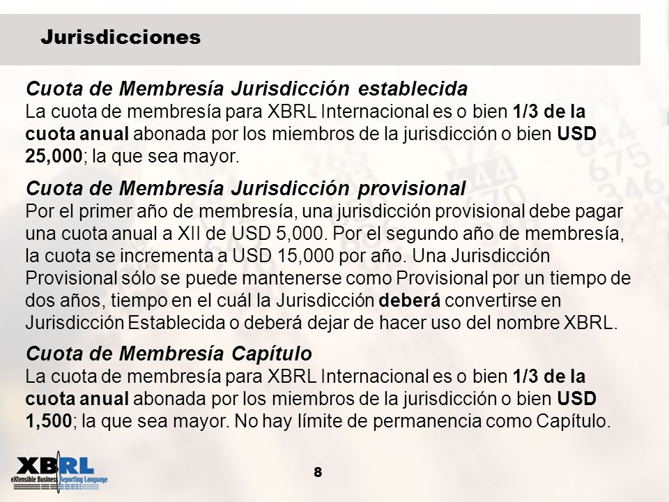 Cuota de Membresía Jurisdicción establecida