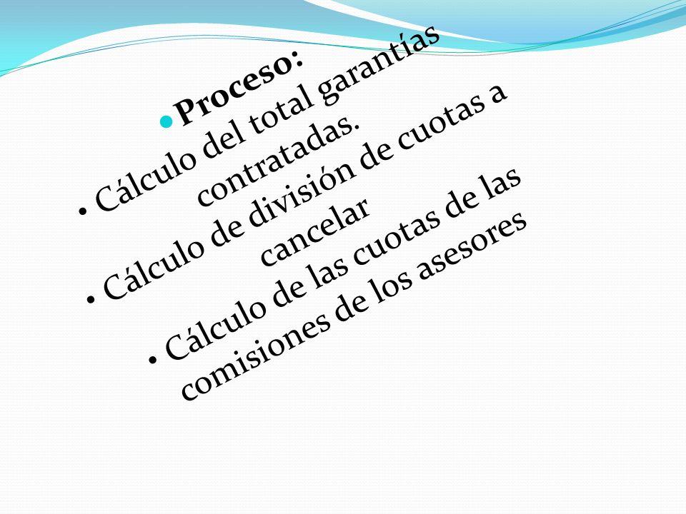 Proceso: • Cálculo del total garantías contratadas