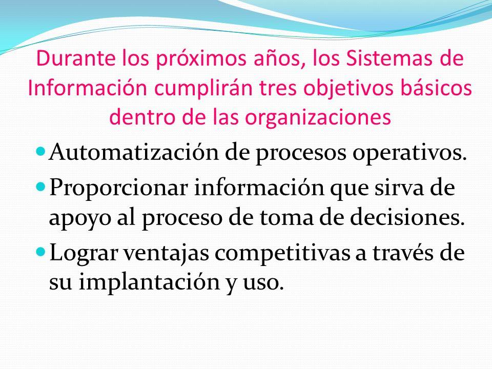 Durante los próximos años, los Sistemas de Información cumplirán tres objetivos básicos dentro de las organizaciones