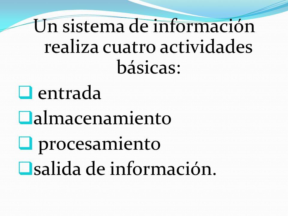 Un sistema de información realiza cuatro actividades básicas: