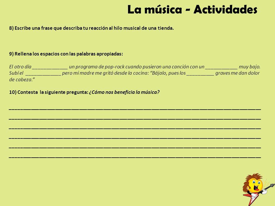 La música - Actividades