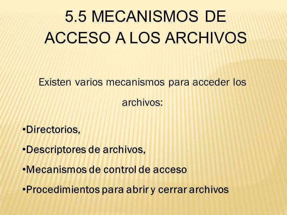 Existen varios mecanismos para acceder los archivos: