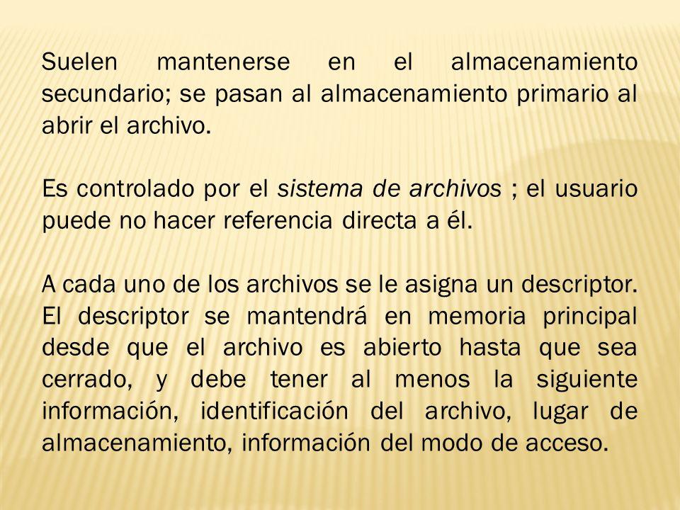 Suelen mantenerse en el almacenamiento secundario; se pasan al almacenamiento primario al abrir el archivo.