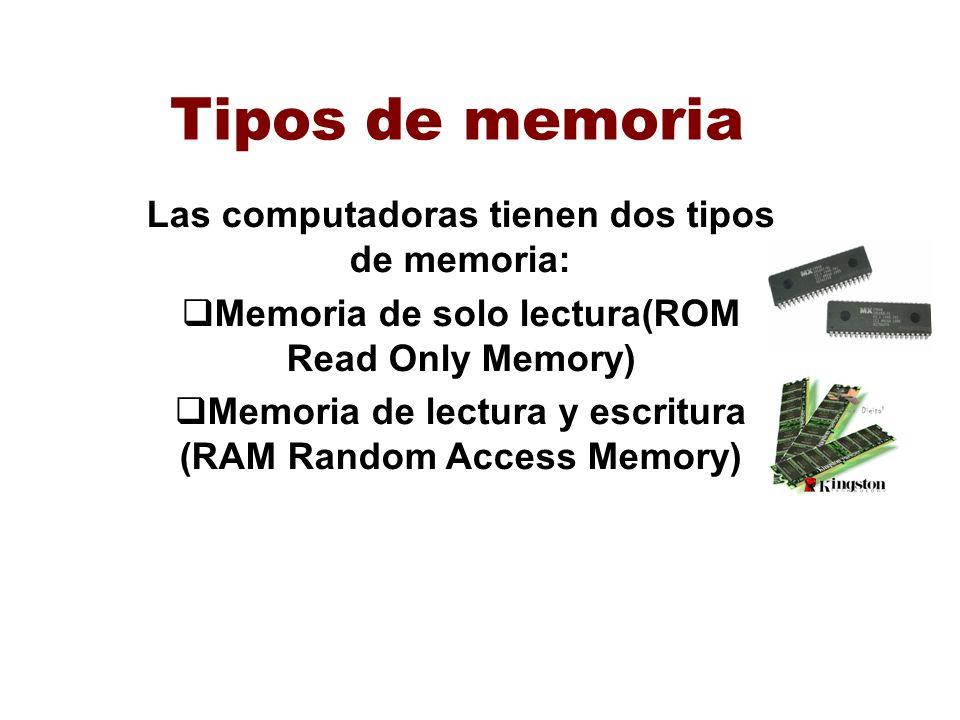 Tipos de memoria Las computadoras tienen dos tipos de memoria: