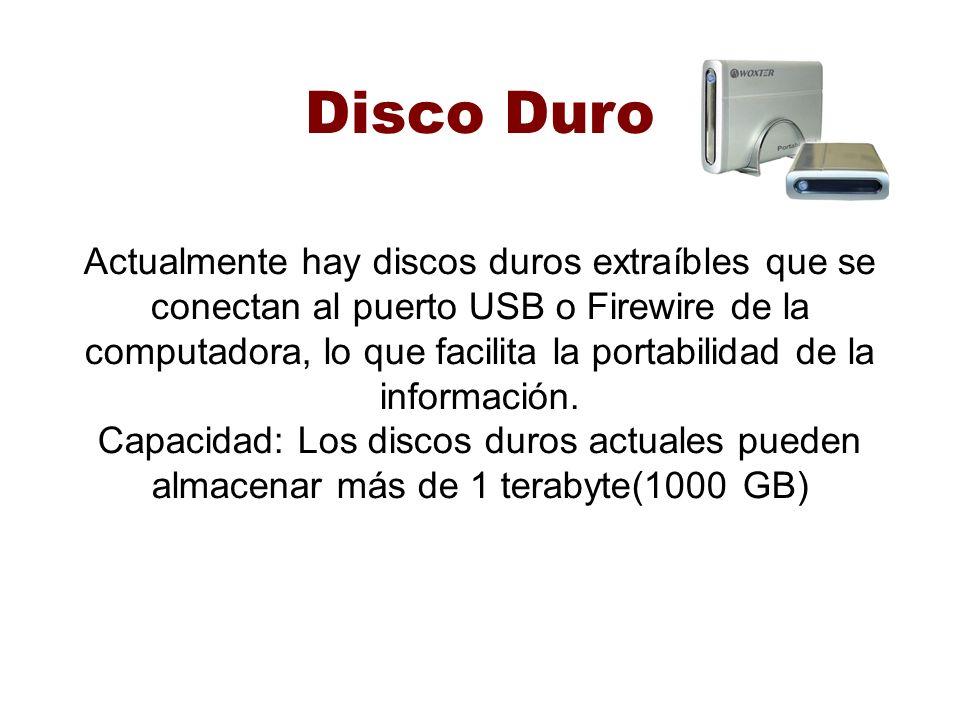 Disco Duro Actualmente hay discos duros extraíbles que se conectan al puerto USB o Firewire de la computadora, lo que facilita la portabilidad de la información.