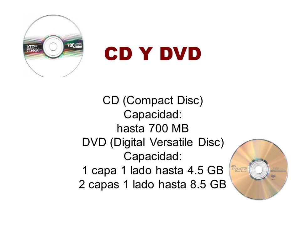 CD Y DVD CD (Compact Disc) Capacidad: hasta 700 MB DVD (Digital Versatile Disc) Capacidad: 1 capa 1 lado hasta 4.5 GB 2 capas 1 lado hasta 8.5 GB