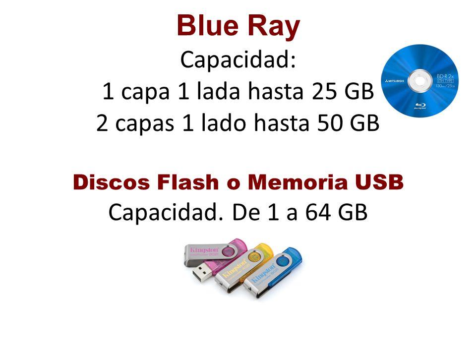Blue Ray Capacidad: 1 capa 1 lada hasta 25 GB 2 capas 1 lado hasta 50 GB Discos Flash o Memoria USB Capacidad.