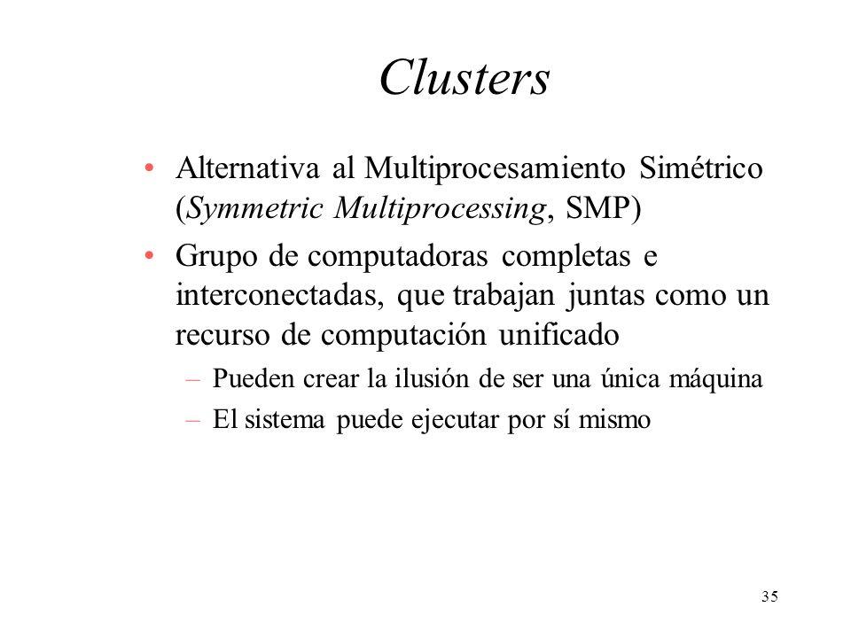 Clusters Alternativa al Multiprocesamiento Simétrico (Symmetric Multiprocessing, SMP)