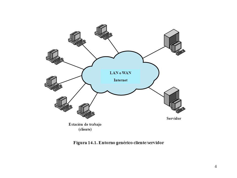 Figura 14.1. Entorno genérico cliente/servidor