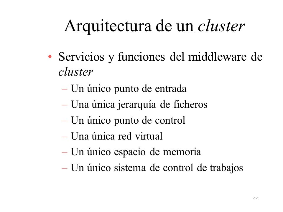Arquitectura de un cluster