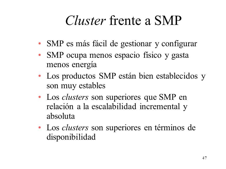 Cluster frente a SMP SMP es más fácil de gestionar y configurar