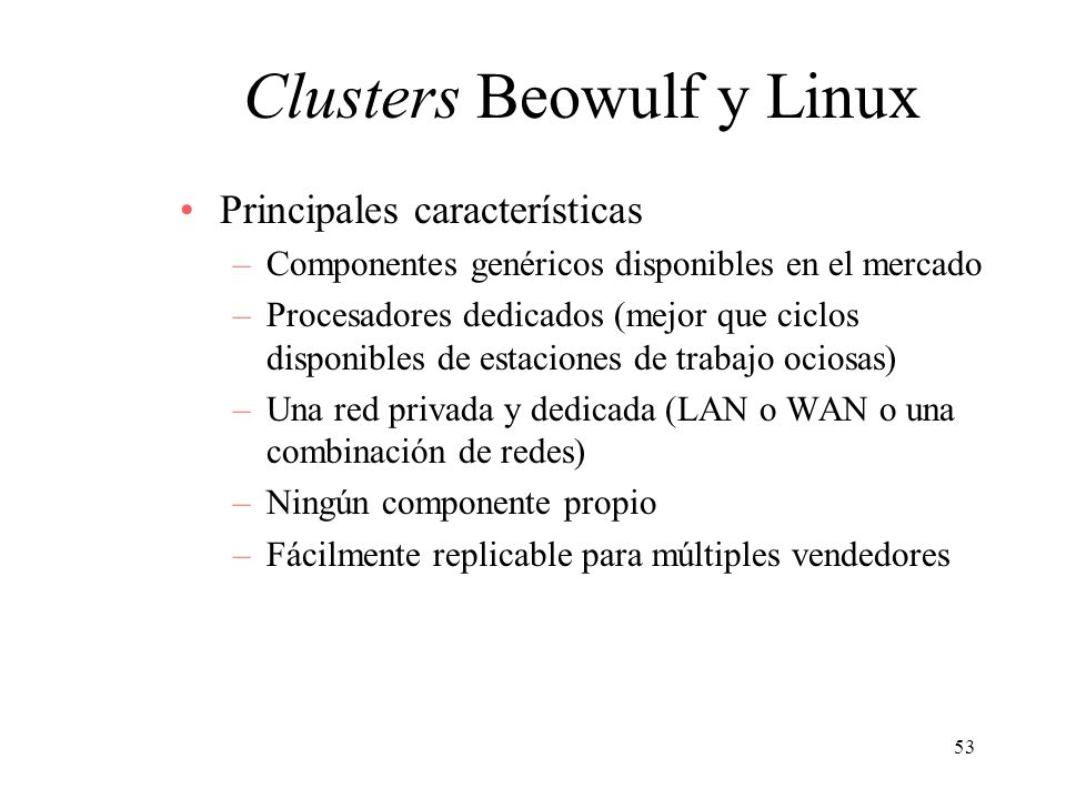Clusters Beowulf y Linux