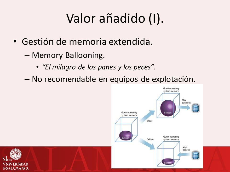 Valor añadido (I). Gestión de memoria extendida. Memory Ballooning.