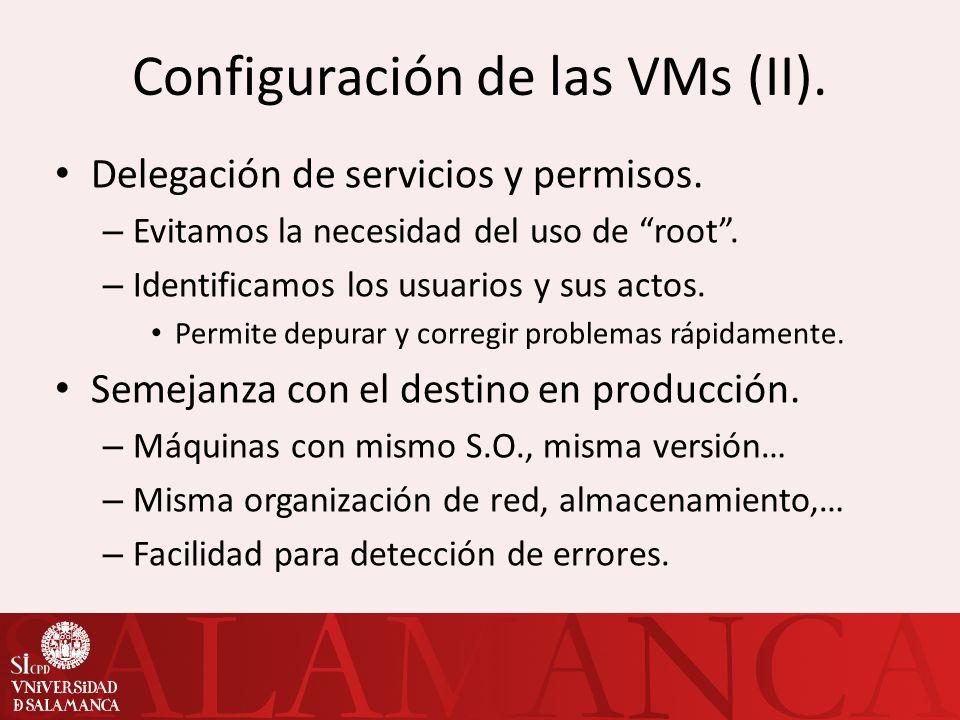Configuración de las VMs (II).