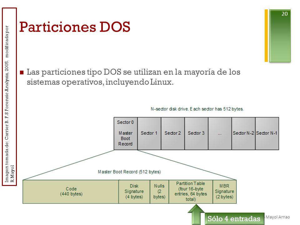 Particiones DOS Las particiones tipo DOS se utilizan en la mayoría de los sistemas operativos, incluyendo Linux.