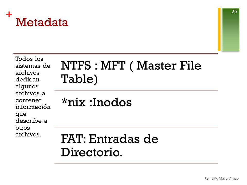 NTFS : MFT ( Master File Table)