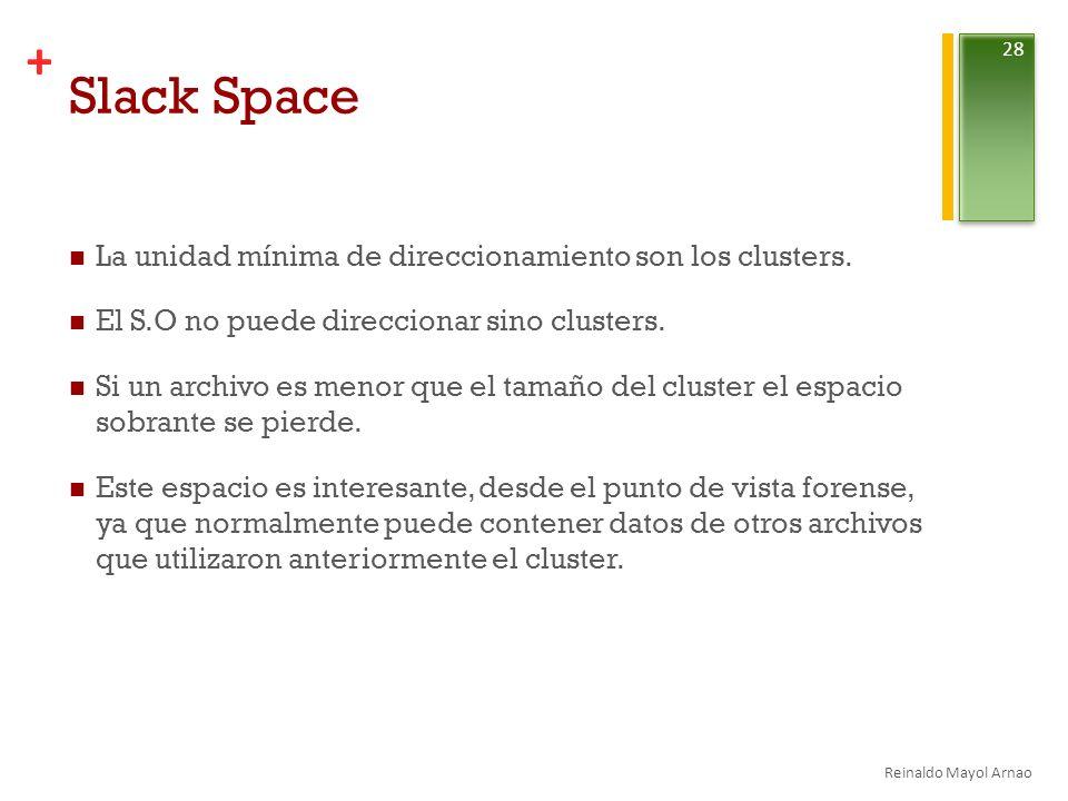 Slack Space La unidad mínima de direccionamiento son los clusters.