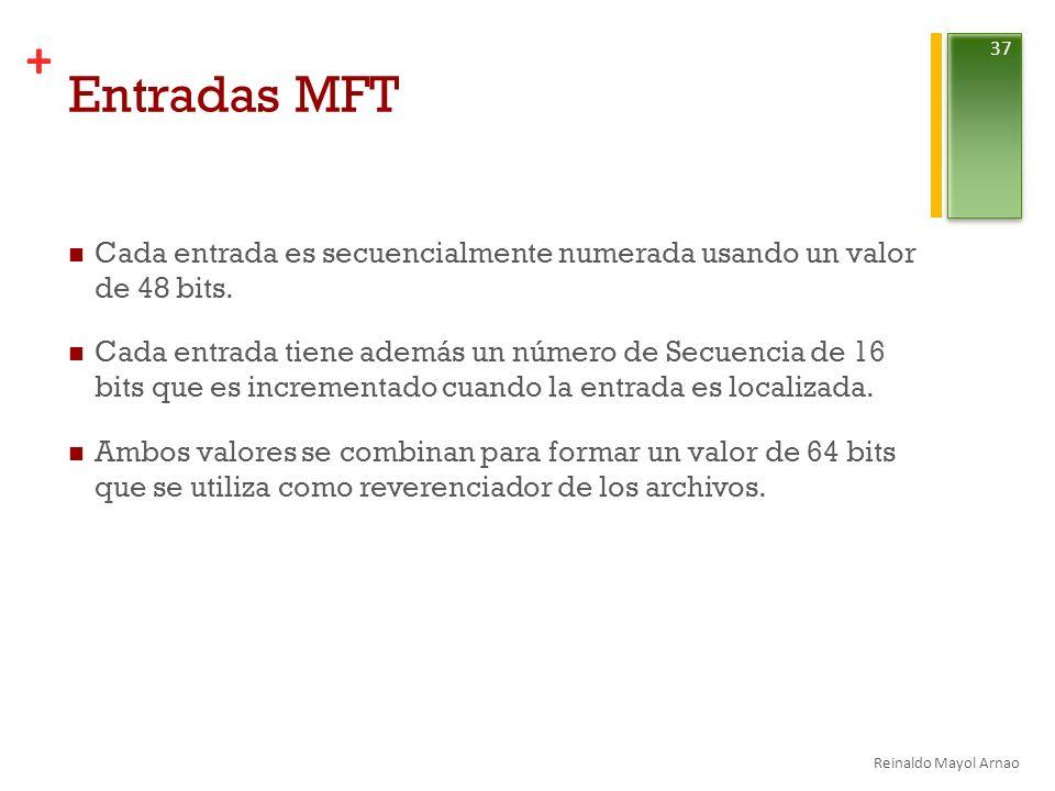 Entradas MFT Cada entrada es secuencialmente numerada usando un valor de 48 bits.
