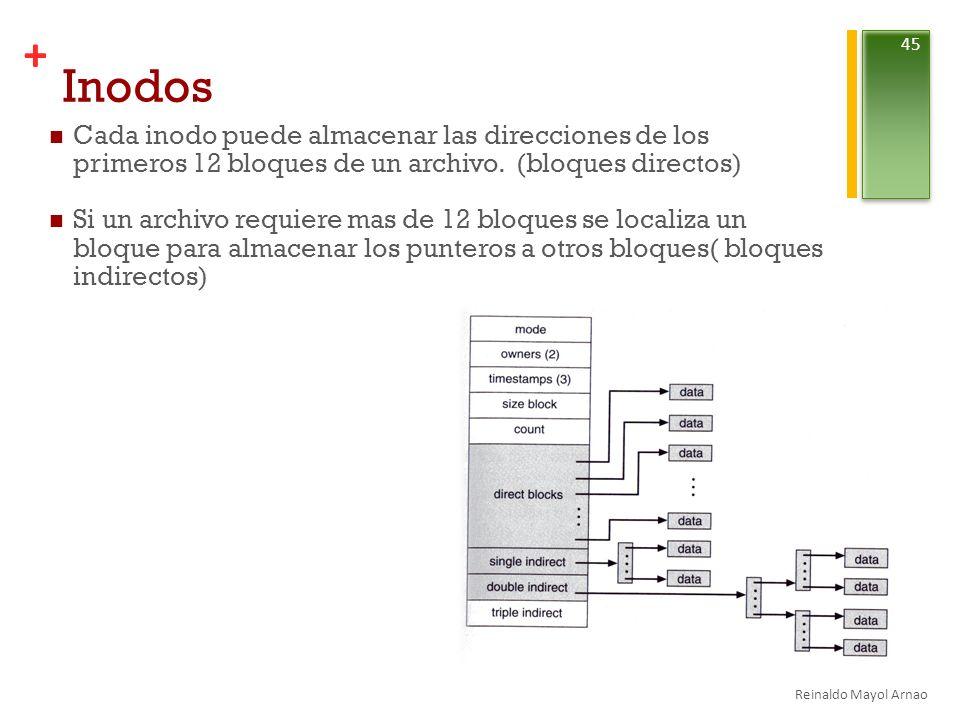 Inodos Cada inodo puede almacenar las direcciones de los primeros 12 bloques de un archivo. (bloques directos)