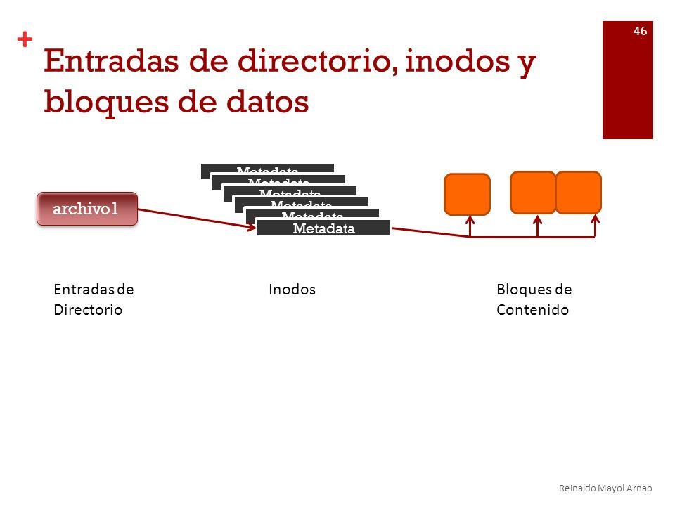 Entradas de directorio, inodos y bloques de datos