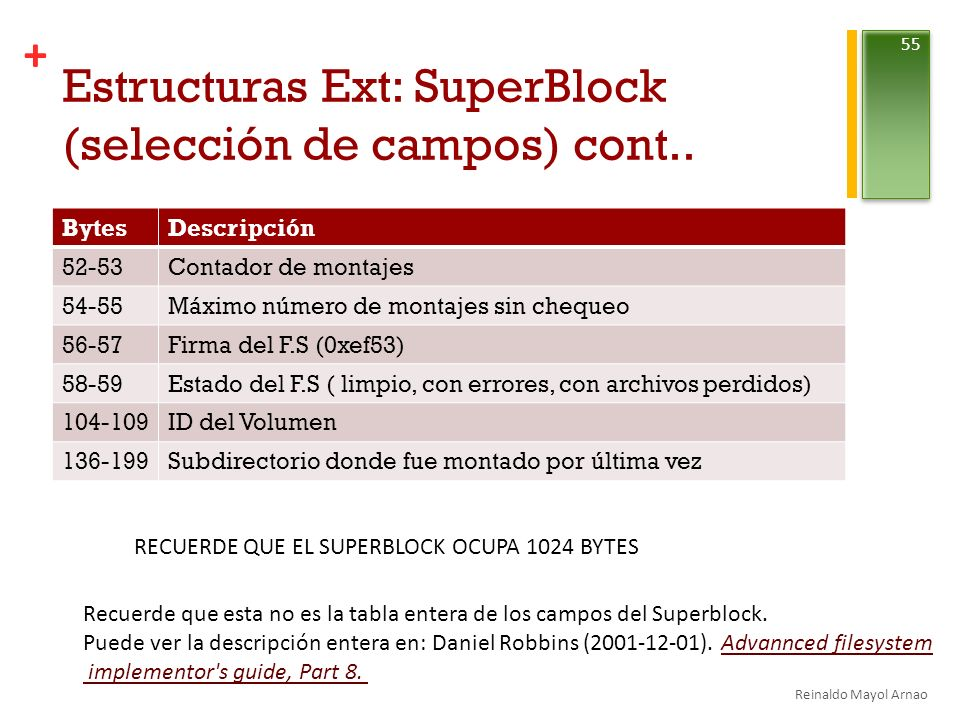 Estructuras Ext: SuperBlock (selección de campos) cont..