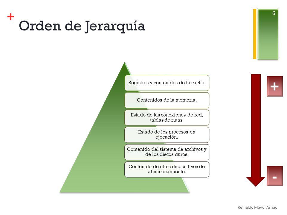 Orden de Jerarquía + - Registros y contenidos de la caché.